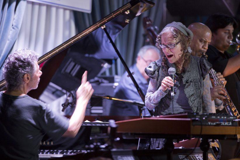 Chick Corea, piano; Gayle Moran, vocals; Eddie Gomez, bass, Steve Wilson, soprano saxophone; Michael Rodriguez, trumpet (photo by Alan Nahigian)