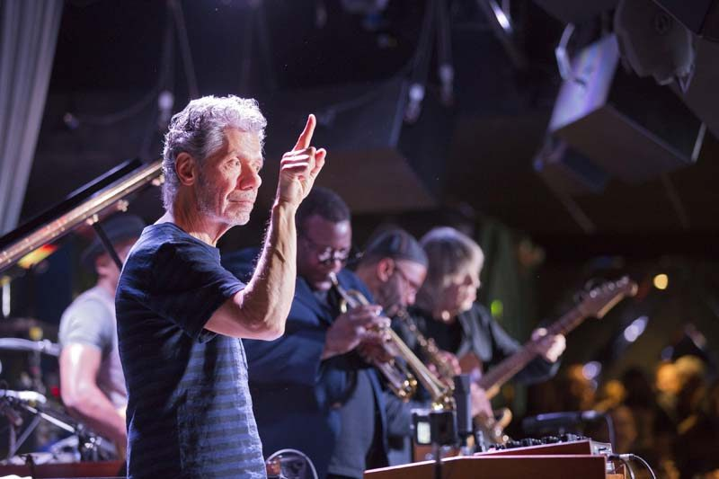 Chick Corea leading a tribute to Miles featuring (at back and from left) Marcus Miller, Wallace Roney, Kenny Garrett and Mike Stern (photo by Alan Nahigian)