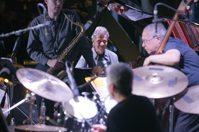 Chick Corea, piano; Ben Solomon, tenor saxophone; Steve Gadd, drums; Eddie Gomez, bass (photo by Alan Nahigian)