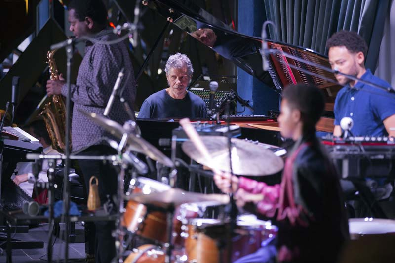 Chick Corea exploring electronica with saxophonist Yosvani Terry, vocalist and musician Taylor McFerrin and guest drummer Kojo Roney, sitting in for Marcus Gilmore (photo by Alan Nahigian)