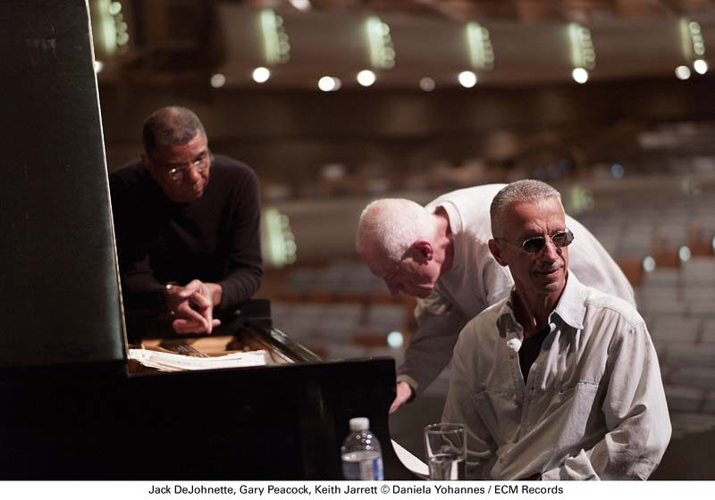"Jarrett's now-disbanded ""Standards Trio,"" with Jack DeJohnette and Gary Peacock (from left), in 2010 (photo by Daniela Yohannes/ECM Records)"