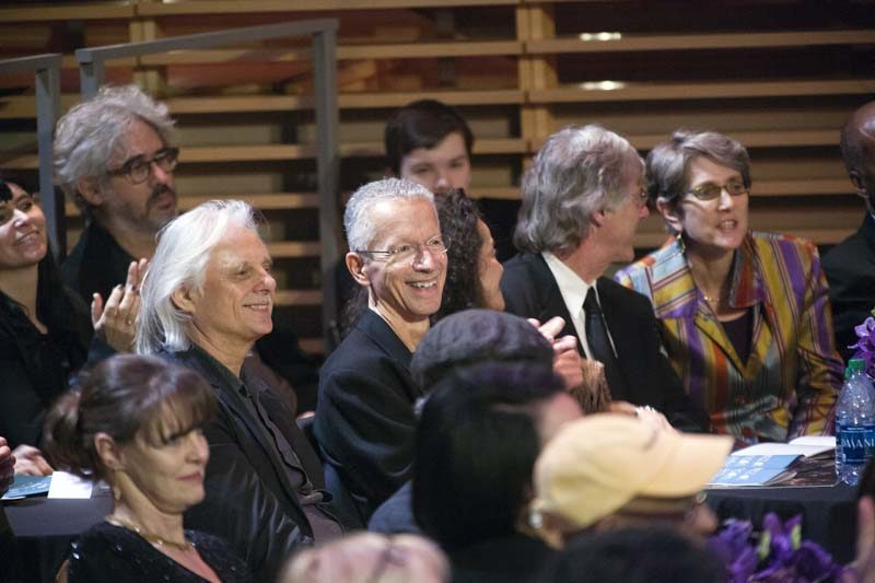 Jarrett with ECM Records staff, including, to his right, label founder Manfred Eicher, at the 2014 NEA ceremony (photo by Alan Nahigian)