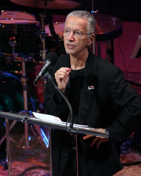 At Jazz at Lincoln Center in January 2014, Jarrett accepts his NEA Jazz Master Award (photo by Michael G. Stewart/NEA)