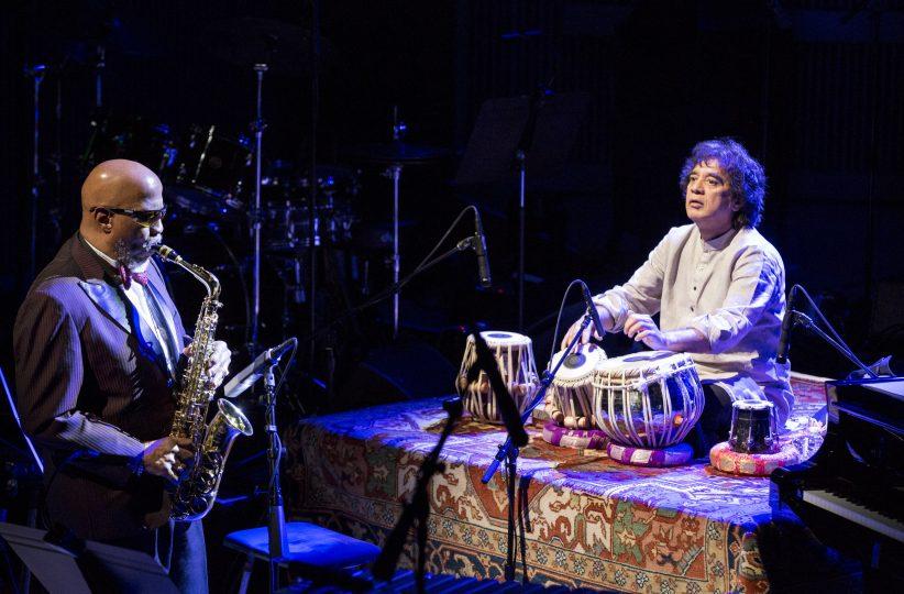 John Handy and Zakir Hussain (photo by Scott Chernis)