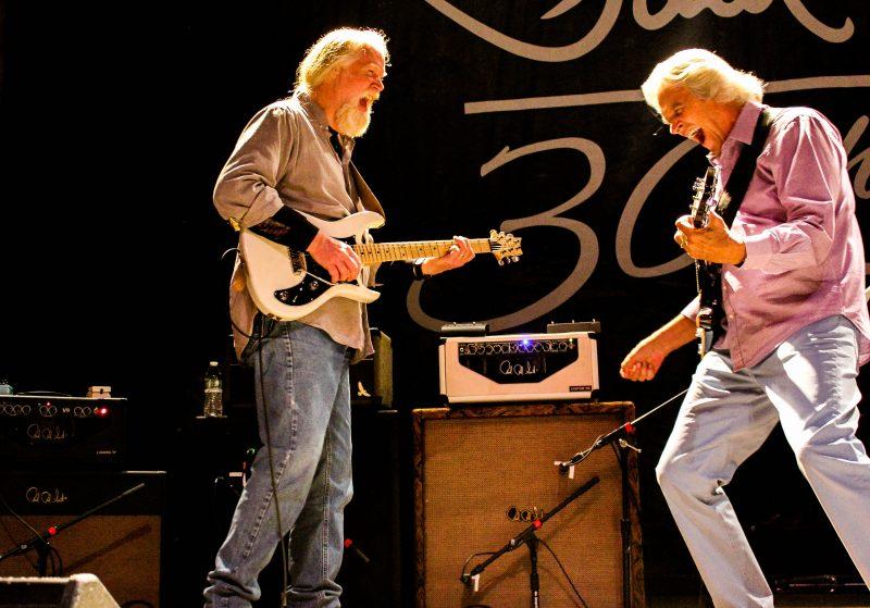 John McLaughlin (right) with Jimmy Herring (photo by Kim Allegrezza)