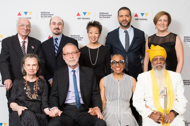 Front row (left to right): Mary Jo Gitler (representing 2017 NEA Jazz Master Ira Gitler), 2017 NEA Jazz Masters Dave Holland, Dee Dee Bridgewater and Dr. Lonnie Smith. Back row (left to right): 2017 NEA Jazz Master Dick Hyman,  Fitz Gitler (representing Ira Gitler), NEA Chairman Jane Chu, Kennedy Center Artistic Director for Jazz Jason Moran and Kennedy Center President Deborah Rutter (photo by Yassine El Mansouri)