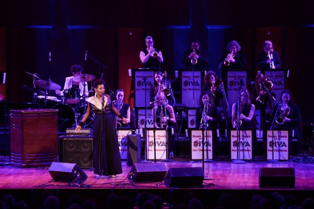 China Moses and Sherrie Maricle and the DIVA Jazz Orchestra perform in honor of Dee Dee Bridgewater (photo by Shannon Finney)