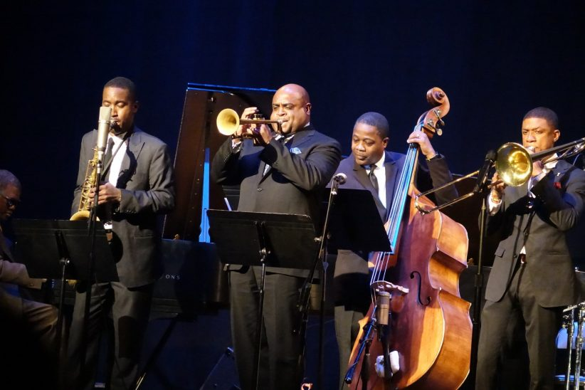 Marcus Roberts (at photo left edge), Ricardo Pascal, Terell Stafford, Rodney Whitaker and David L. Harris (photo by Perry Tannenbaum)