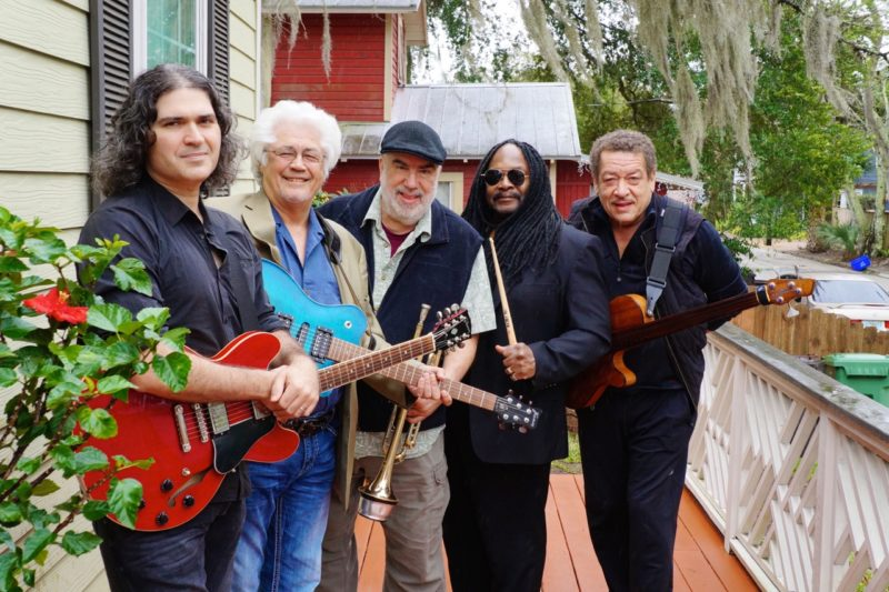 Larry Coryell's 11th House (from left): Julian Coryell, Larry Coryell, Randy Brecker, Alphonse Mouzon, John Lee (photo courtesy of Silverlake Media/Savoy Jazz)
