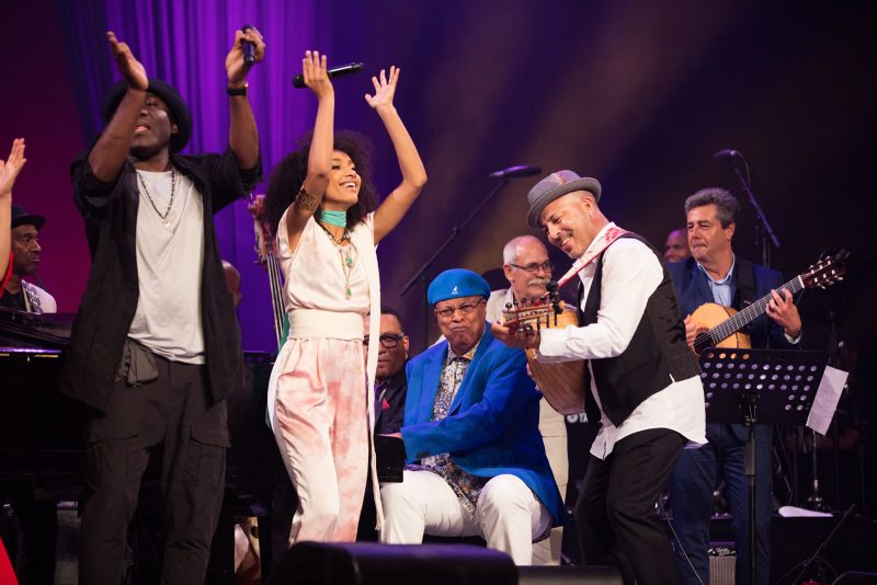 From left: Marcus Miller, Richard Bona, Esperanza Spalding, Gonzalo Rubalcaba, Chucho Valdés, Barbarito Torres, Dhafer Youssef and Marc Antoine (photo by Steve Mundinger)