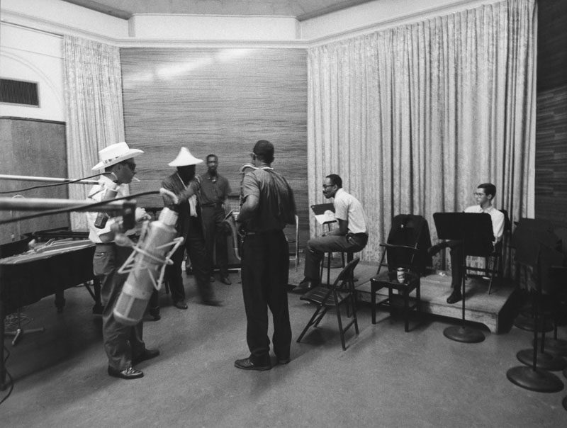 Monk, Romano, Charlie Rouse, Sam Jones, Art Taylor and the French tenorman Barney Wilen in the studio (photo courtesy Arnaud Boubet/Private Collection)