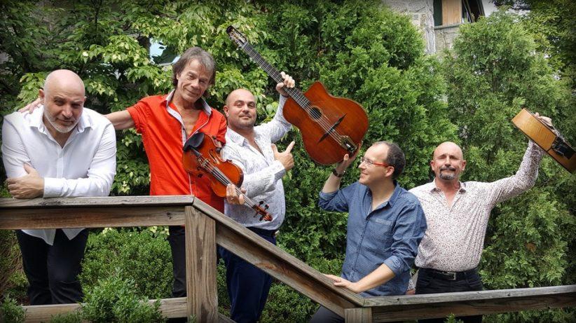 Django Festival Allstars (from left: Antonio Licusati, Pierre Blanchard, Samson Schmitt, Ludovic Beier and Doudou Cuillerier)