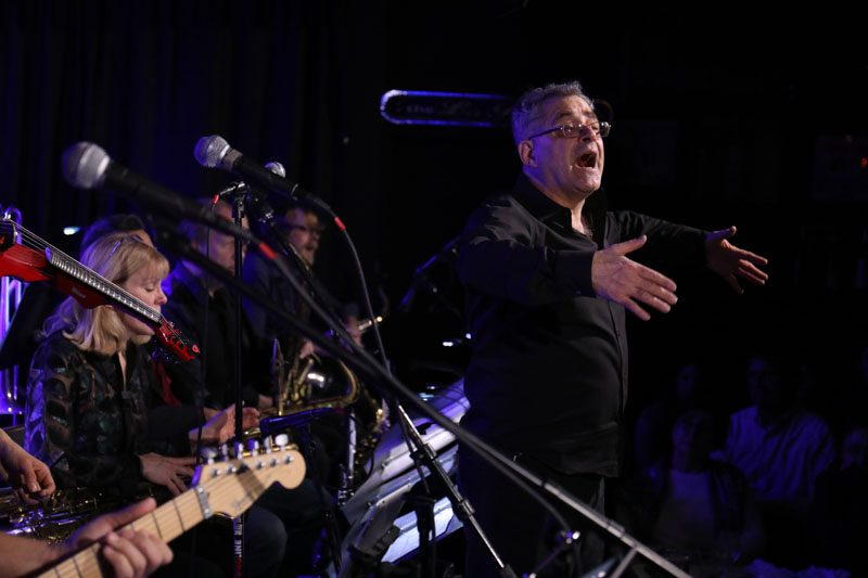 Ed Palermo onstage with his big band (photo by Chris Drukker)