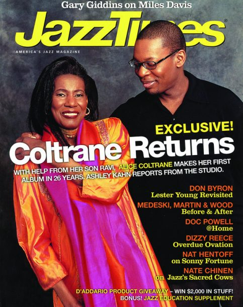 Coltrane with son Ravi on the cover of JT in October 2004, to promote her Impulse! comeback, Translinear Light