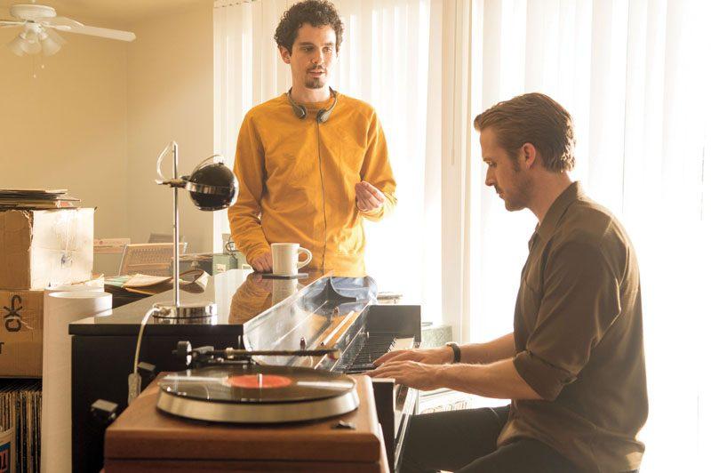 "Damien Chazelle (left) directs Ryan Gosling in ""La La Land"" (photo by Dale Robinette/Lionsgate)"