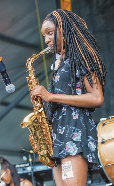 Guest saxophonist with Rebirth Brass Band (photo by Mark Robbins)