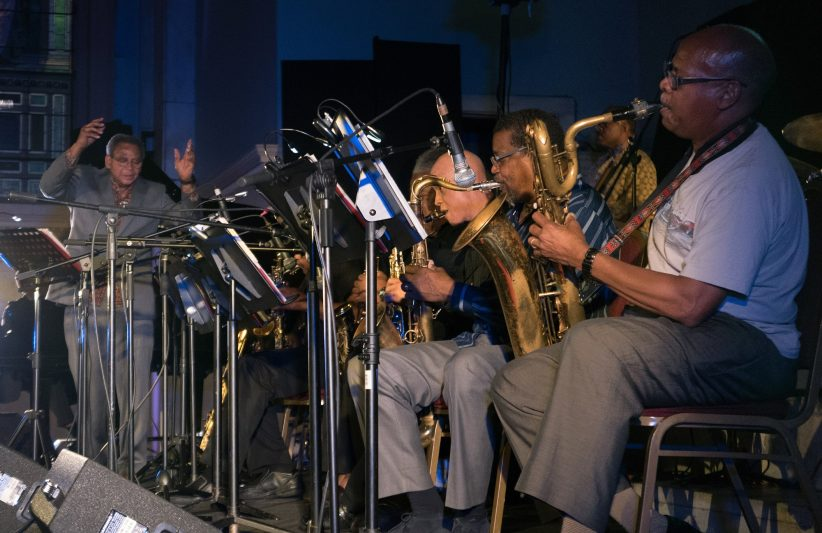 Odean Pope Saxophone Choir; conductor Pope at far left (photo by Marek Lazarski)