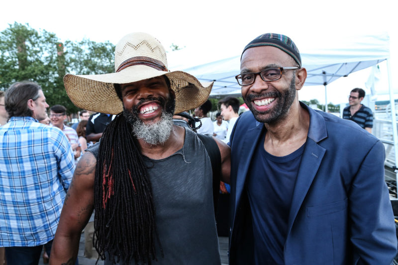 Casey Benjamin (left) hangs with Kenny Garrett (Photo by Jati Lindsay)
