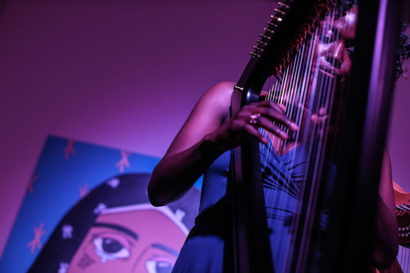 Brandee Younger performs at the Fridge, as part of CapitalBop's DC Jazz Loft Series (Photo by Jati Lindsay)