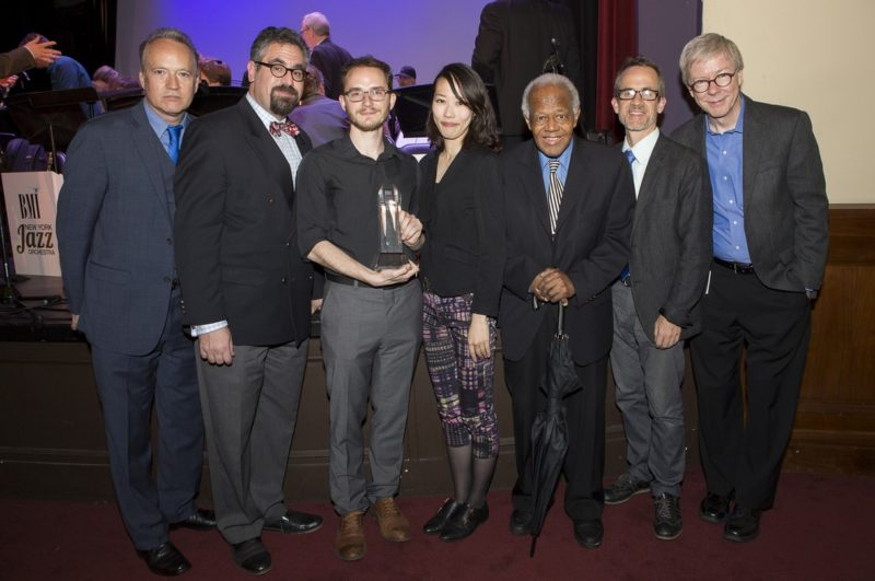 From left: Jazz Composers Workshop Associate Musical Director Ted Nash, Musical Director Andy Farber, Charlie Parker Prize winner Remy Le Boeuf, judges Miho Hazama, Slide Hampton and Chris Byars and BMI's Patrick Cook