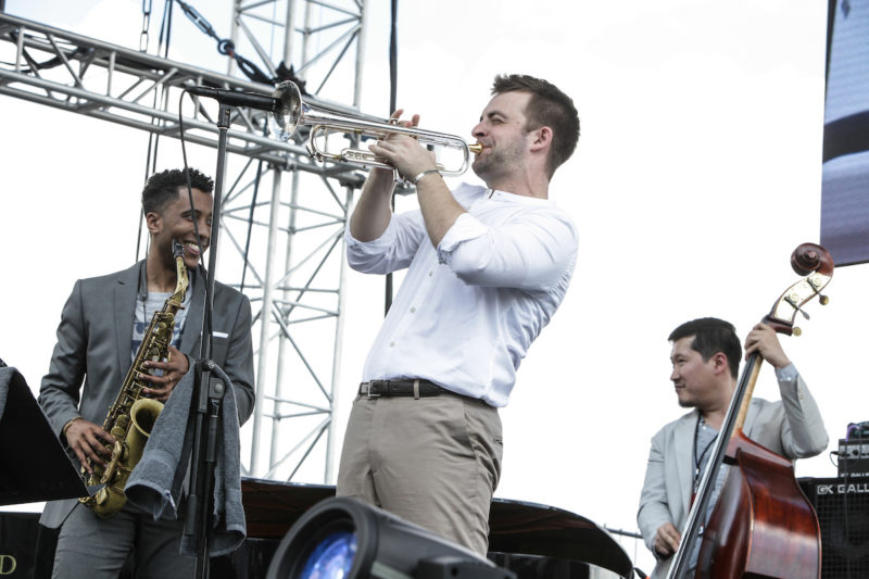 Braxton Cook, Benny Benack and Yasushi Nakamura (from left) of the New Century Jazz Quintet at DC JazzFest at the Yards (Photo by Jati Lindsay)