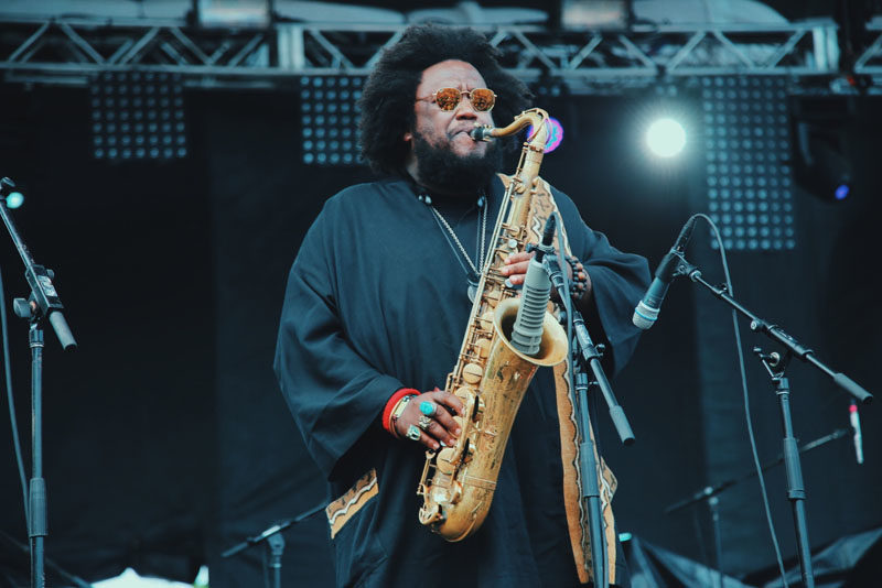 Kamasi Washington onstage at the 2016 Pitchfork Music Festival (photo by Jackie Lee Young/Courtesy of the Pitchfork Music Festival)