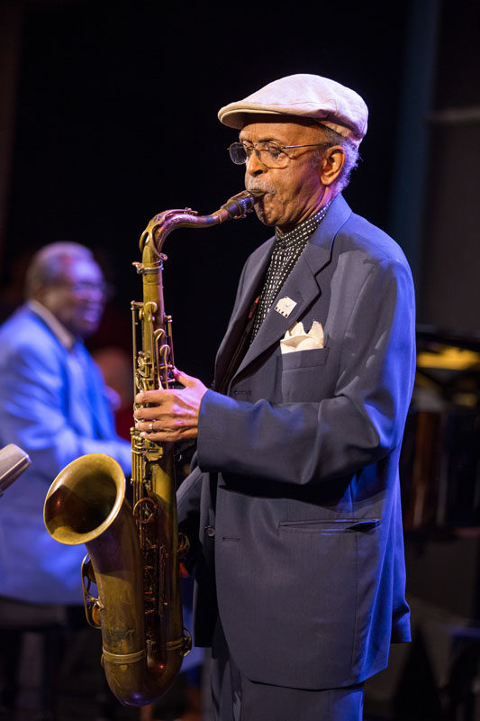 Jimmy Heath honors his friend and Riverside Records employer Orrin Keepnews at Dizzy's Club Coca-Cola in September (photo by Alan Nahigian)
