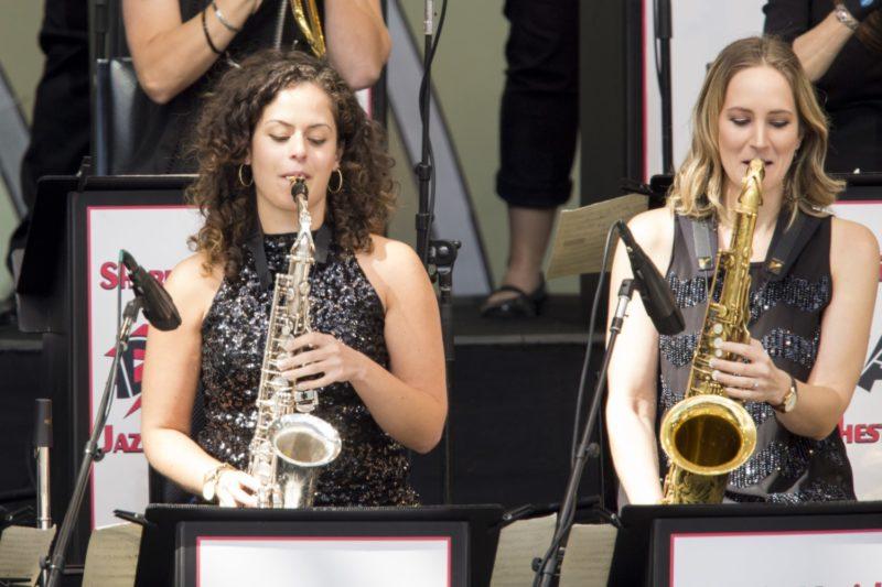 From left: DIVA Jazz Orchestra members Alexa Tarantino and Roxy Coss (photo by Mathew Imaging)