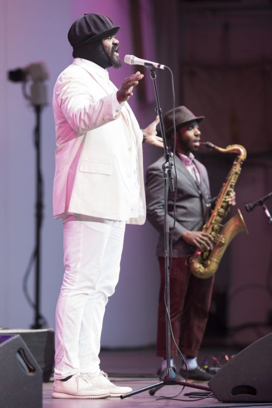 From left: Gregory Porter and tenor saxophonist Tivon Pennicott (photo by Mathew Imaging)