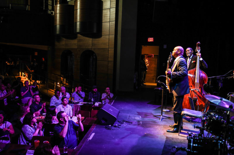 Russell Malone and, at back, Ron Carter at the Howard Theatre (Photo by Jati Lindsay)
