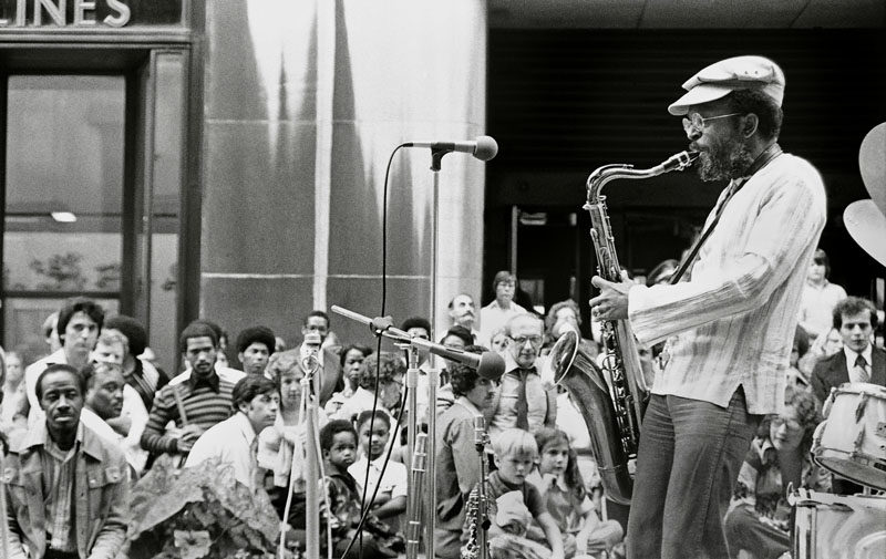 Jimmy Heath performs with the Heath Brothers at New York's Rockefeller Center in June 1977 (photo by Tom Marcello)