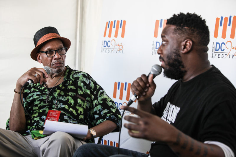 DC Jazz Festival Artistic Director Willard Jenkins interviews Robert Glasper (Photo by Jati Lindsay)