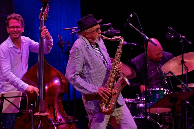 From left: Larry Grenadier, Charles Lloyd, Eric Harland (photo by William Struhs)