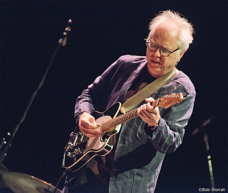 Bill Frisell performs in a duo with Thomas Morgan (not visible) (photo by Bob Worrall)