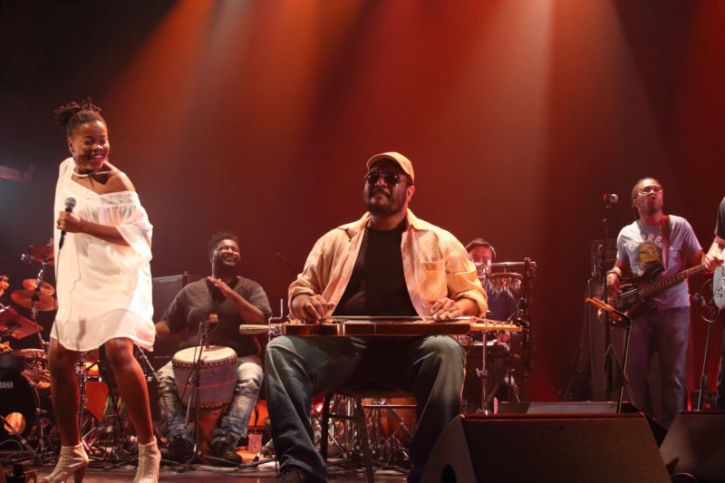 Bokanté, from left: Malika Tirolien, Weedie Braimah, Roosevelt Collier, Jamey Haddad, Michael League, Bob Lanzetti (photo by Sharonne Cohen)