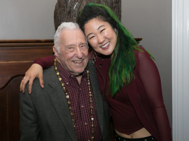 Fred Taylor with saxophonist Grace Kelly at the Fred Taylor Scholarship Fund announcement at JazzBoston event (photo by Jean Hangarter)