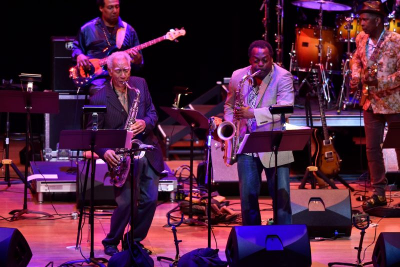 """Prime Time: A Reunion"" from left: bassist Al MacDowell, saxophonists Kidd Jordan and David Murray, guitarist Vernon Reid (photo by Stephanie Berger)"