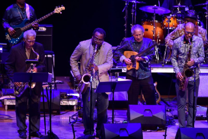 """Prime Time: A Reunion"" from left: Al MacDowell, Kidd Jordan, David Murray, Kenny Wessel, Joshua Redman and Vernon Reid (obscured by Redman) (photo by Stephanie Berger)"