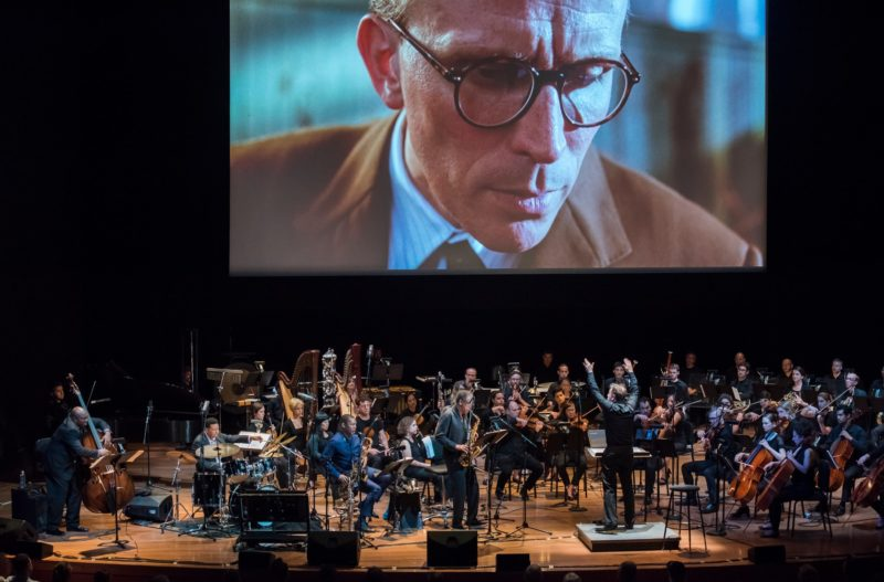 """""""Naked Lunch"""" film screening with live accompaniment: Ravi Coltrane, Henry Threadgill, Charnett Moffett and Denardo Coleman with Ensemble Signal, conducted by Brad Lubman (photo by Stephanie Berger)"""