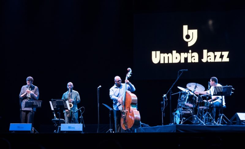 From left: Josh Evans, Marcus Strickland, Christian McBride and Nasheet Waits (photo by Tim Dickeson)