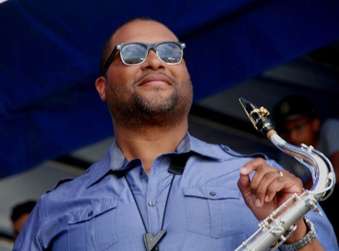 Tenor Saxophonist Jimmy Greene's quartet opened the main stage at the 2017 Newport Jazz Festival on Friday, August 4, 2017.