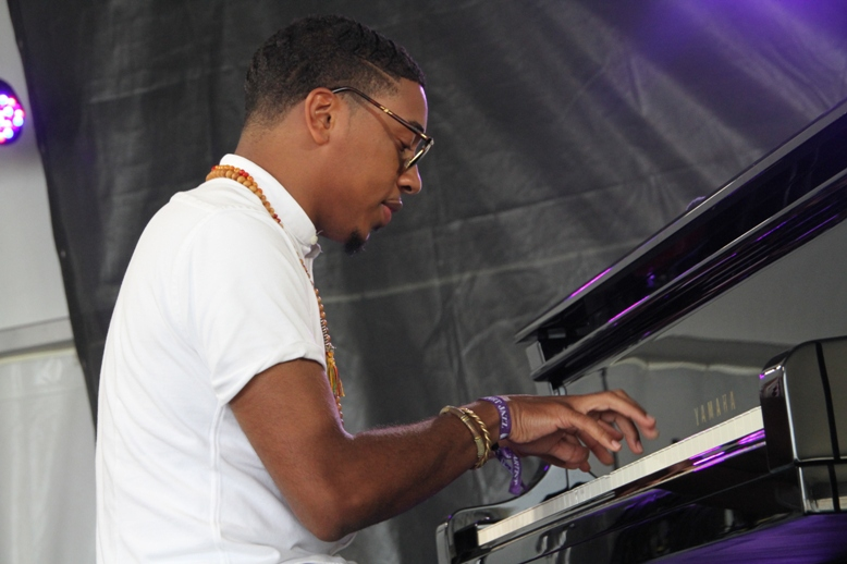 "Pianist Christian Sands performed with his own quartet, in the Christian McBride Big Band and in the ""Flying Toward the Sound (To Geri With Love)"" set at the 2017 Newport Jazz Festival."