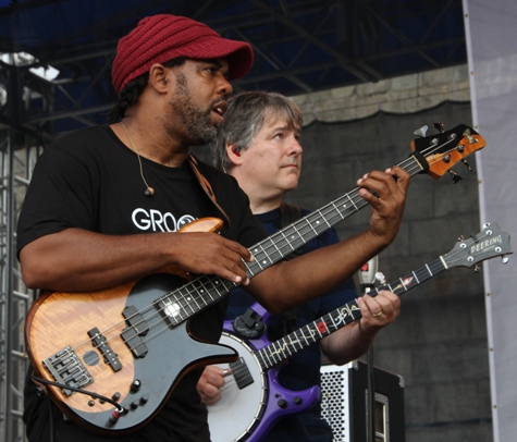 Bassist Victor Wooten and banjo player Bela Fleck on the Newport Jazz Festival main stage on Friday, August 4, 2017. The Flecktones closed out the day's performances at Fort Adams State Park.