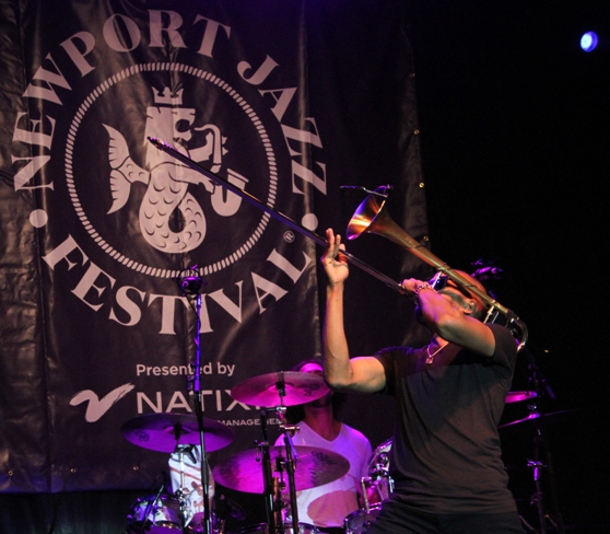 Trombone Shorty's band Orleans Avenue was the headliner at the International Tennis Hall of Fame at Newport Casino, which was the Newport Jazz Festival's original home in 1954.