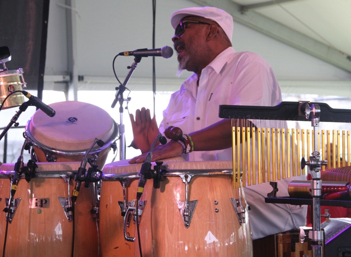 Percussionist and singer Roman Diaz with the Jazz 100 project at the 2017 Newport Jazz Festival on Saturday, August 5, 2017.