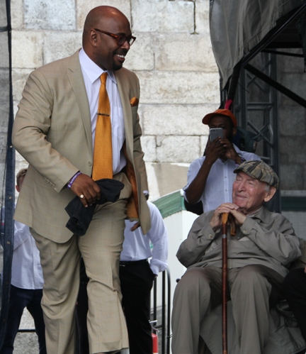 Newport Jazz Festival founding producer George Wein, 91, and the festival's new artistic director, bassist Christian McBride, on Saturday, August 5, 2017.