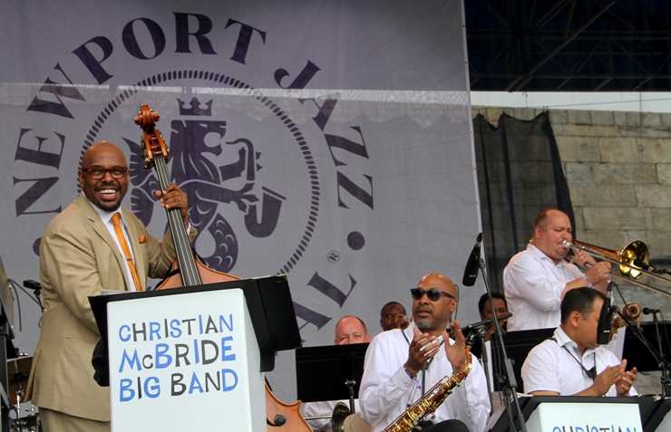Bassist Christian McBride brought his big band to the main stage at the 2017 Newport Jazz Festival on Saturday, August 5, 2017. Trumpeter Sean Jones and vibraphonist Warren Wolf were special guests.