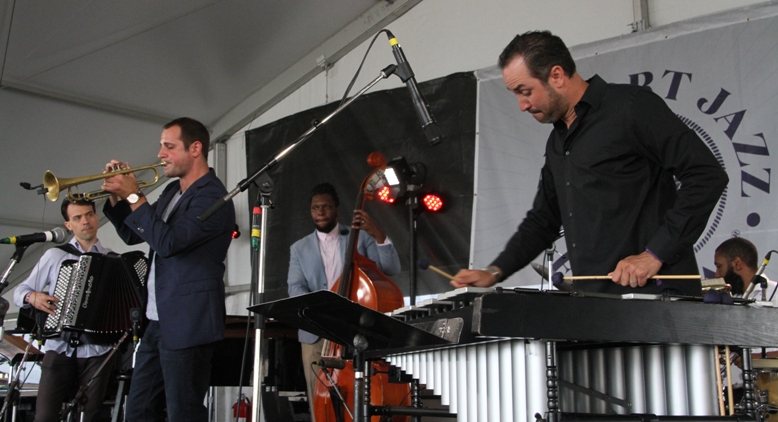 Trumpeter Dominick Farinacci brought an octet for his Newport Jazz Festival debut on Saturday, August 5, 2017. The band included vibes player Christian Tamburr, a frequent collaborator.