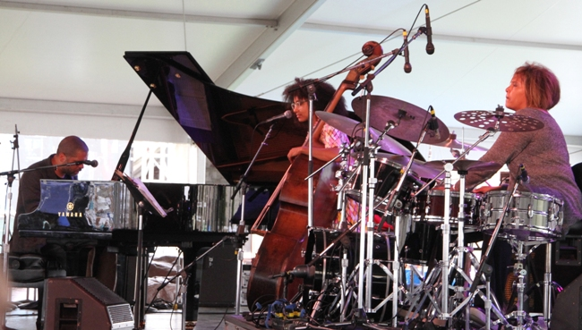 "Pianists Jason Moran (pictured), Vijay Iyer and Christian Sands performed with drummer Terri Lyne Carrington and bassist Esperanza Spalding in the ""Flying Toward the Sound (To Geri With Love)"" set paying tribute to late pianist Geri Allen at the 2017 Newport Jazz Festival. Allen, who had been scheduled to appear with the ACS Trio, died of cancer in late June."