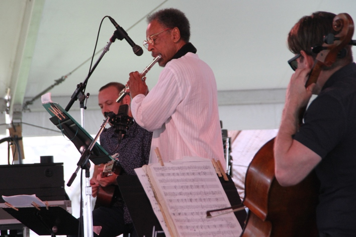 Pulitzer Prize-winning composer Henry Threadgill performed at the 2017 Newport Jazz Festival with his Zooid band, which included guitarist Liberty Ellman and cellist Christopher Hoffman.